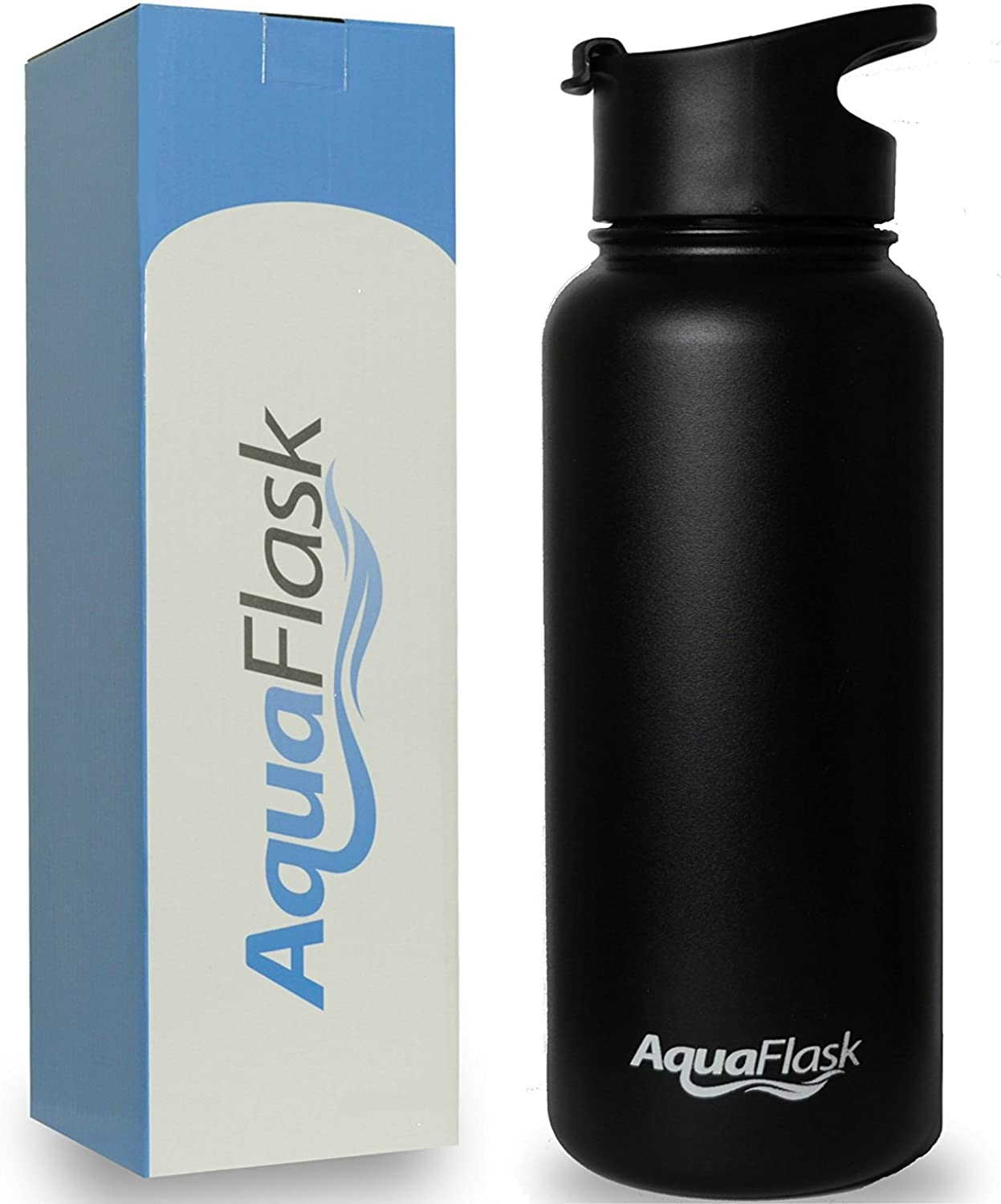 AquaFlask 32oz Vacuum Insulated Stainless Steel Water Bottle, Wide Mouth with Flip Top (32Ounce)