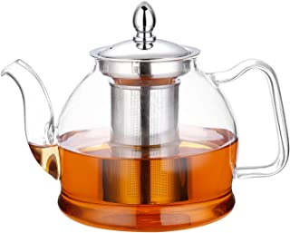 Hiware 1000ml Glass Teapot with Removable Infuser, Stovetop Safe Tea Kettle, Blooming and..