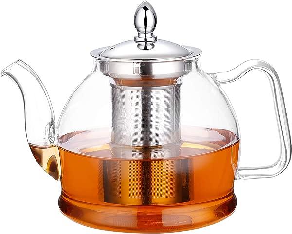 Hiware 1000毫升玻璃茶壶带可拆卸泡茶器炉灶安全茶壶开花和活页泡茶器套装