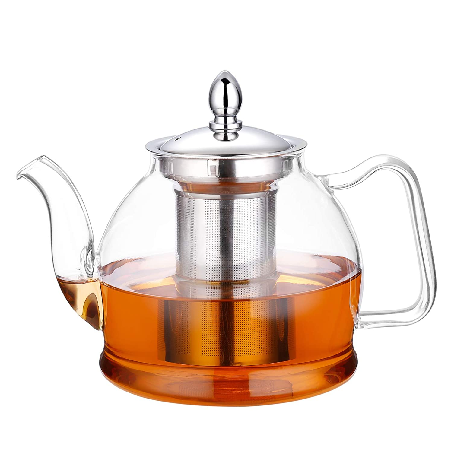 管理者最終一(1000ML) - Hiware Glass Teapot with Removable Infuser, Stovetop Safe 1000 ml Blooming and Loose Leaf Tea Pot