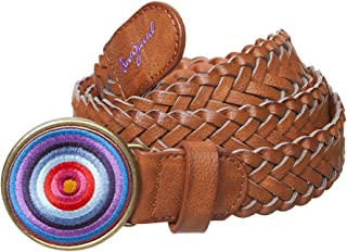 Desigual Women's Pleated Belt with Criss-Cross Motif and Large Circular Buckle - brown