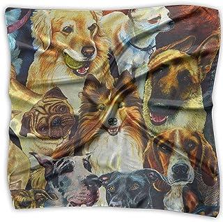 Square Satin Scarf Various Dogs Silk Like Lightweight Bandanas Head Wrap Neck Shawl Headscarf