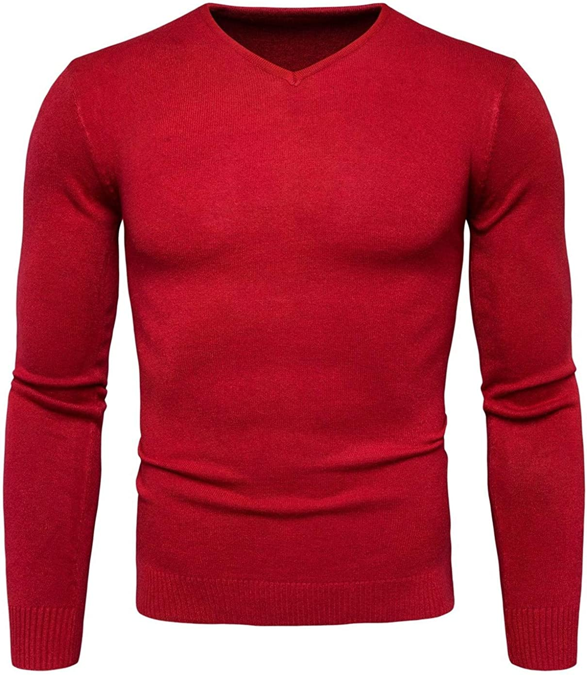 Soluo V-Neck Sweater for Men Lightweight Spring Pullover Sweater Merino Wool and Cotton Knit Underwear (red,Medium)