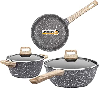Dealz Frenzy Nonstick Stone-Derived Cookware Set, Induction Bottom Cooking Pots and Pans Set, Soft Touch Bakelite Handle and Konb, Dishwasher Safe, PFOA Free, FDA, Oven Safe,Halloween 5 Pieces (Stone)