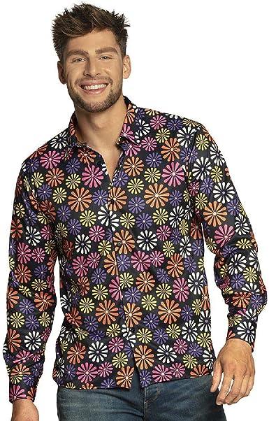 Boland Hemd Flower Power Para hombre, camiseta, camisa para adultos, camisa de flores, camisa hawaiana, hippie, años 70, fiesta temática, carnaval, ...