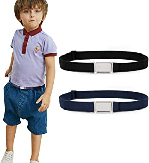 3 Pack Elastic Stretch Adjustable 1 Wide Black Belt Easy to Wear GUCHOL Boys Black Magnetic Belts for Kids