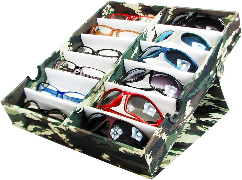 Ikee Design Large Eyeglasses Sunglasses Organizer Display Case, Durable Eye Glasses Storagefor 12 Pairs of Eyewear Frames