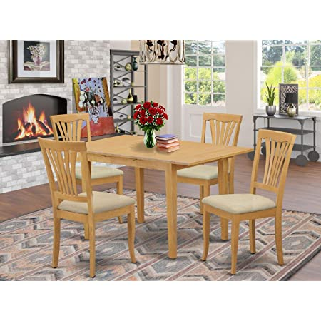 East West Furniture Nofk5 Oak C 5 Piece Kitchen Dining Set 4 Dining Chairs And Kitchen Table Rectangular Table Top Slatted Back And Linen Fabric Chair Seat Oak Finish Furniture