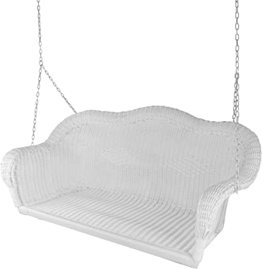"""Northlight 50"""" White Stripe Outdoor Patio Resin Wicker Swing with Chain"""