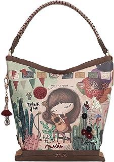 Anekke Ixchel Music Damen-Schultertasche mit Reißverschluss, abnehmbarer Schlüsselanhänger und Reißverschlusstasche hinten