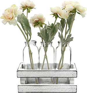Funsoba Small Glass Vases in Wood Rack Stand Window-Sill Display Set of 3 Crystal Clear Flower Vase Farmhouse Home Decoration (White 3 Vase)