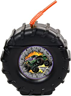 Monster Jam Childrens Birthday Party Supplies - Truck Tire Plastic Sippy Cup with Straw