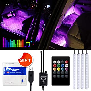 Car LED Strip Light-Viden Interior Car Lights,4pcs 48 LED Car Underglow Lights,Waterproof Multicolor Music Lighting Kits with Wireless Control and Sound Active Function, DC 5V