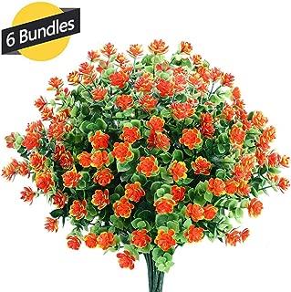 GREENRAIN 6 Bundles Artificial Flowers Outdoor Fake Flowers for Decoration UV Resistant No Fade Faux Plastic Plants Garden Porch Window Box Décor (Orange Red)