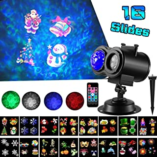 LED Christmas Projector Lights,2-in-1 Ocean Wave Projector,16 Slides 10 Colors,Remote Control Indoor Outdoor for Holiday Lights for Halloween Home Birthday Party Garden Landscape Decorations