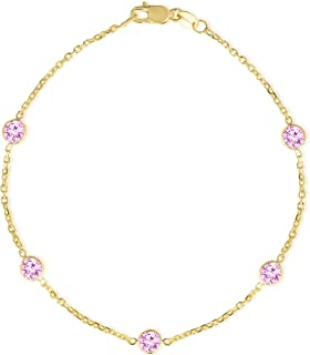 Floreo 14k Yellow Gold Round Gemstone Birthstone Cable Bracelet and Anklet