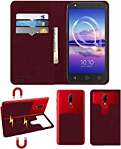 Acm Magic Magnetic 2 in 1 Leather Flip Case/Back Cover Compatible with Alcatel U5 Hd Mobile Flap Wine Red