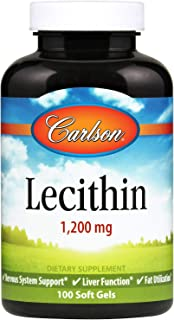 Carlson - Lecithin, Non-GMO, 1200 mg, Nervous System & Liver Function, Unbleached Soy Lecithin, 100 Soft gels