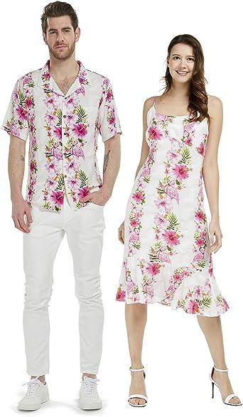 Pareja a juego hawaiano Luau camisa sirena vestido rosa negro ...