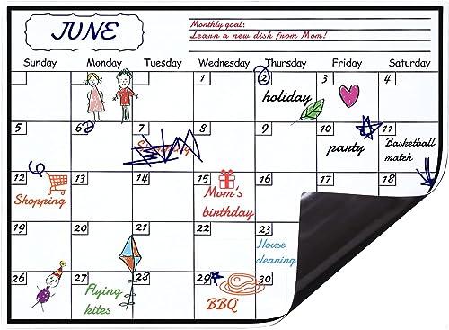 Levoit Magnetic Calendar Planner for Fridge 40x30cm, Reusable Monthly Fridge Calendar, Undated Planning Board Pad, Dr...