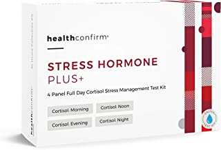 HealthConfirm Stress Hormone Plus, Full Day Cortisol Balance Saliva Collection Test Kit, Cortisol 4X (4 Panel)