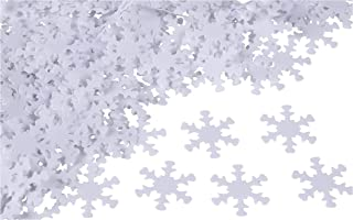 White Snowflake Confetti - 1000-Piece Christmas Winter Holiday Decoration, Plastic Cutouts for Snow Party Decor, DIY Craft, Card, Scrapbook, Table Sprinkle, 0.8 Inch, 1.4 Ounce
