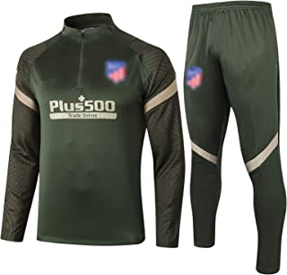 2021 Ạtléṭico Ṃaḍrid 男性用サッカートレーニングスーツ、ポケット付きサッカージャージートラックスーツ大人用長袖通気性ファッション2ピーススーツ XL