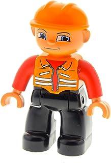 1x Lego Duplo Figur Mann blau Bauarbeiter Helm Toolo Kran Arbeiter 4555pb102