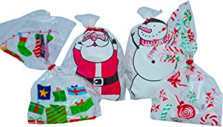 Christmas Favor Goodie Bags with Twist Tie - 72 Cellophane Loot Bag, Party Bag, Favor Bags- Santa Snowman Candy Cane Designs - Festive for Xmas and Holidays - Great for Gifts, Chocolate, Cookies