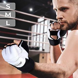 Guantes de Boxeo - Talla S/M/L/XL sin Dedos, Profesionales Unisex Adulto, para Entrenamiento en Saco Combate MMA UFC Sparring Lucha, Negro/Blanco - Guantes de Combate, Guantes para Saco