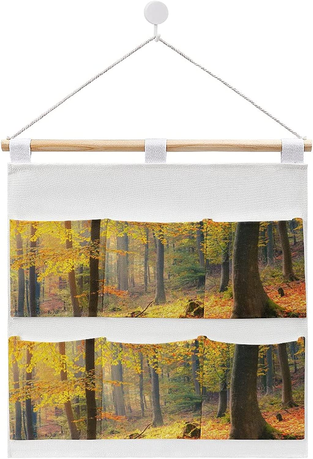 Colorful And Foggy Autumn Forest linen cotton Hanging and storag Large discharge sale All items free shipping