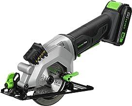 GALAX PRO - Sierra circular mini inalámbrica con guía Laser, hojas 115 mm (24T y 60T), ángulo 42,8 mm (90°) 28 mm (45°), velocidad 3400rpm, botón de seguridad