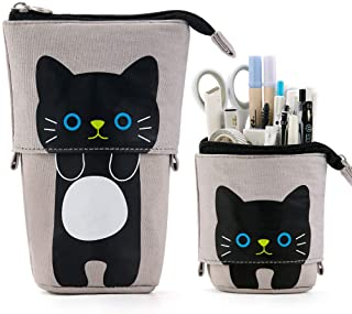 EASTHILL Cartoon Cute Cat Pencil Pouch Canvas Pen Bag Standing Stationery Case Holder Box Student Girl Adult-Gray