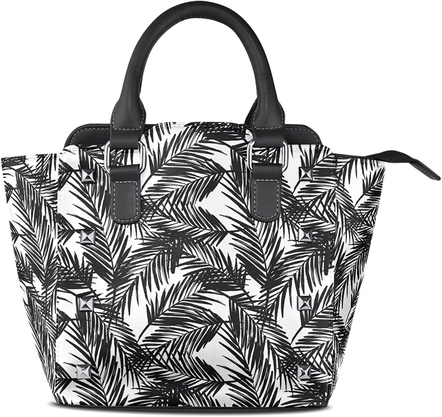 Sunlome Exotic Palm Leaves Print Women's Leather Tote Shoulder Bags Handbags