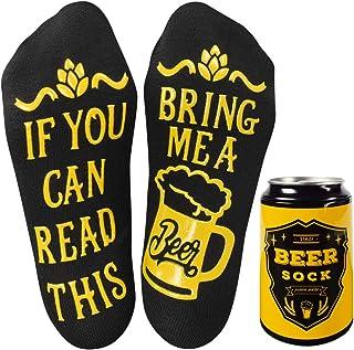 """Calcetines divertidos, If You Can Read This Bring Me A Beer"""",Novedad Latas de cerveza Calcetines San Valentín/Navidad Regalos para esposo Calcetines térmicos difusos cálidos y esponjosos"""