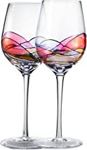 Hand Painted Wine Glasses , Bouquetier Unique Piece Of Art,Set Of 2,Holds up to 15 Ounce of Your Favorite White or Red Wine