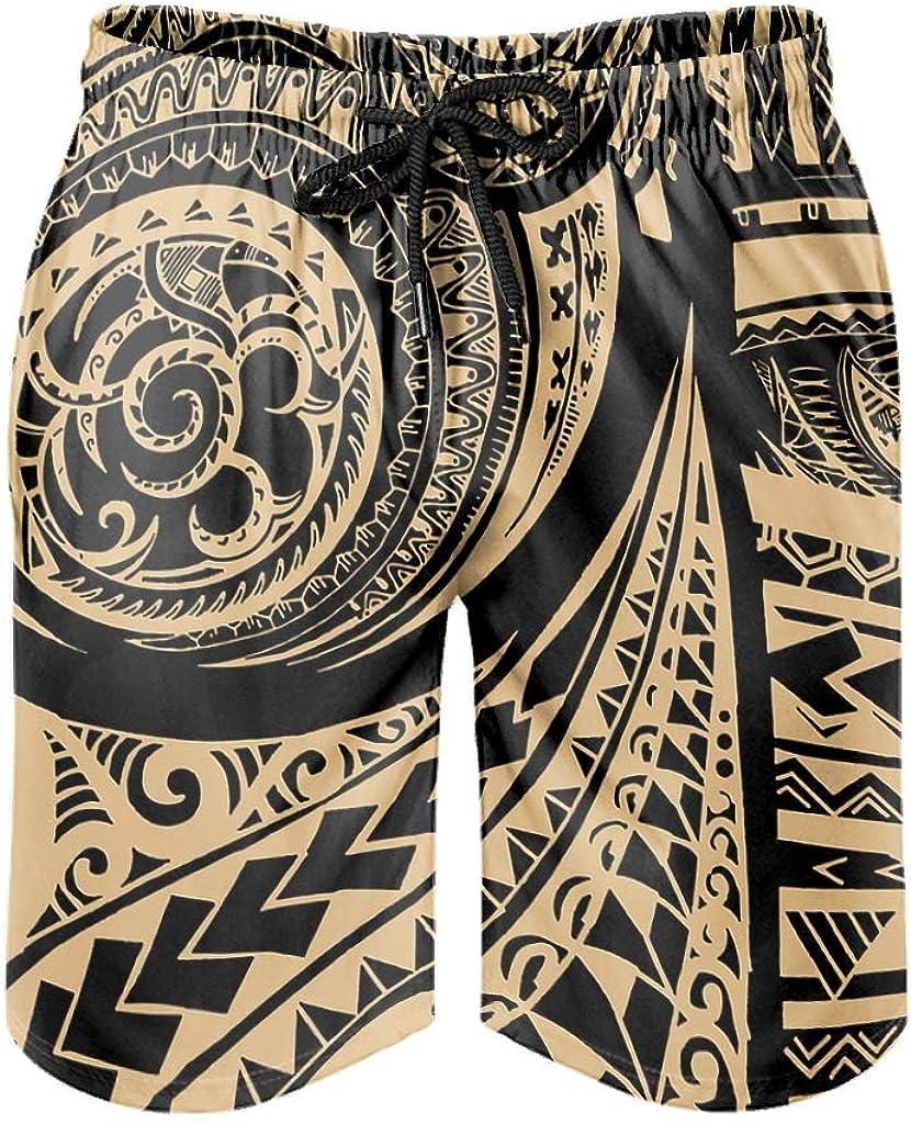 BOTURN Men's Swim Shorts Native Tribal Polynesian Geometry Totem Print Traditional Beach Pants Bathing with Pockets