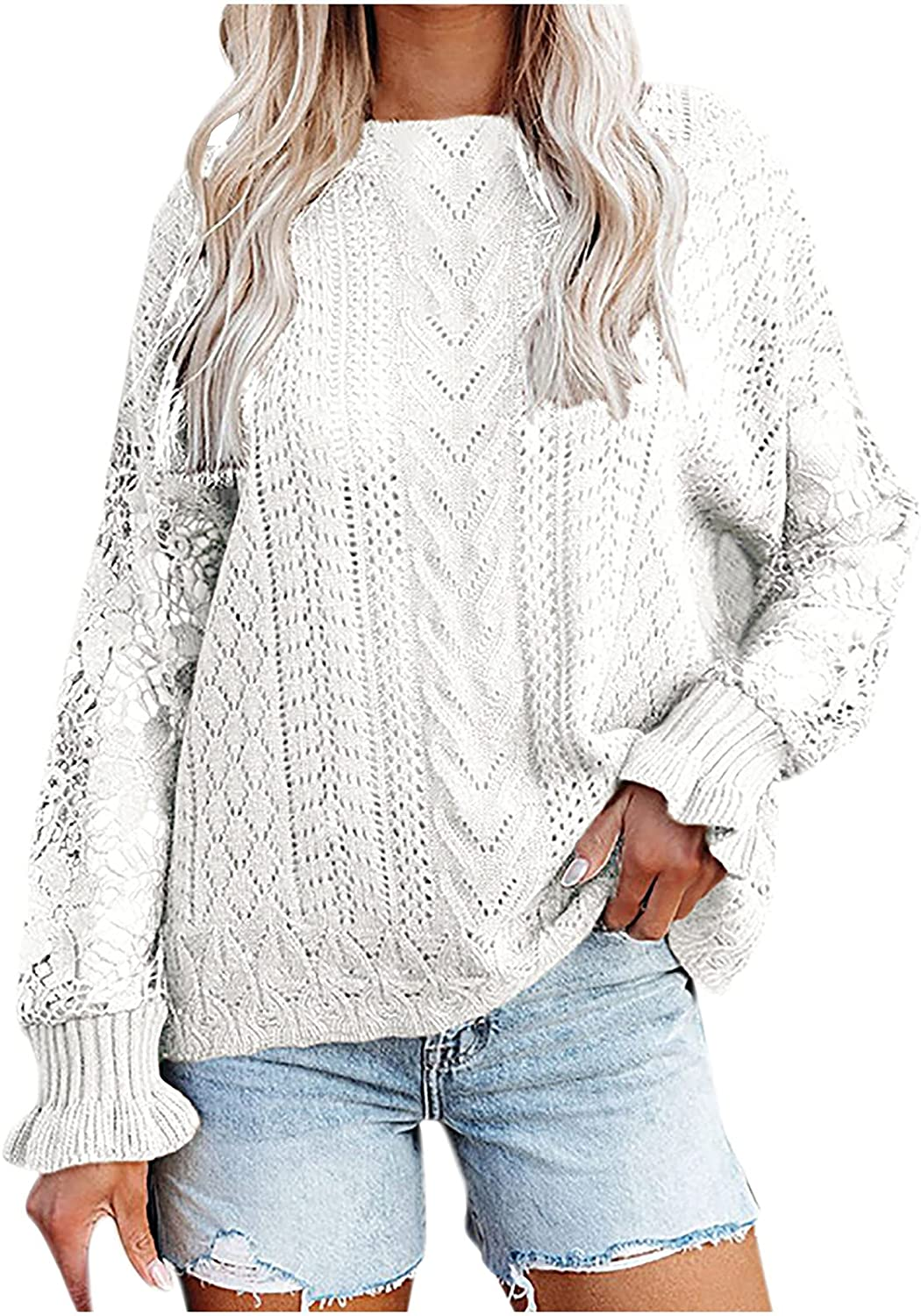 Sweater for Women Knitted Crochet Round Neck Batwing Solid Color Loose Long Sleeve Winter Base Pullover Top