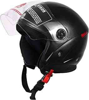 JMD Helmets Grand Open Face Helmet (Black, M)
