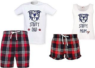 60 Second Makeover Limited Staffy Mum Staffy Dad Couples Matching Pyjama Tartan Shorts Set Couples Dog Bulldog