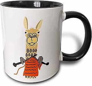 3dRose 255795_4 Funny Cute Llama Knitting Ceramic Mug, 11 oz, Black/White