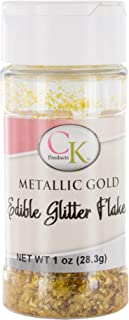Edible Glitter Flakes, Metallic Gold, 1 Ounce