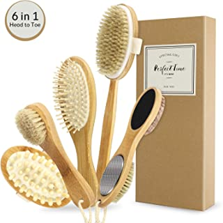 Dry Body Brushing Set - Natural Bristle Shower Brush - Remove Dead Skin & Toxins, Cellulite Treatment, Improves Lymphatic Functions, Exfoliates, Stimulates Circulation, Head to Toe Skin Glowing Set