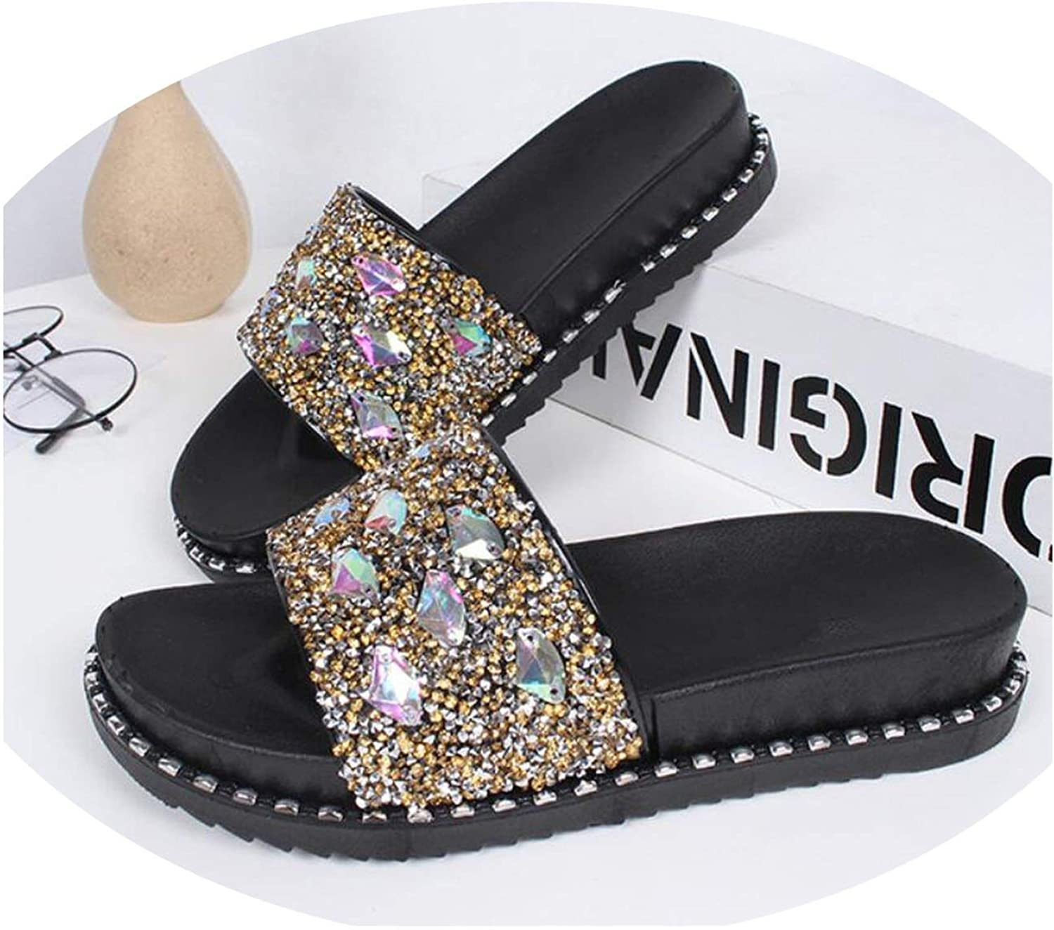 Threeflower Bling Bling Women Slippers Summer Glitter Sandals Girls Wedges shoes Ladies Rhinestone Decorate Flip Flops