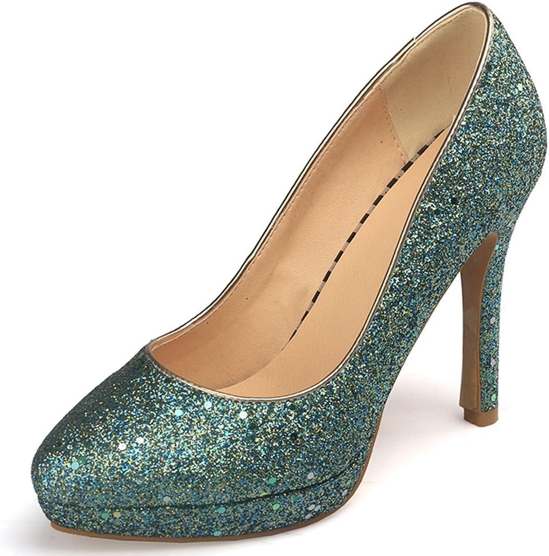 SaraIris Women's Pointed Toe Thin High Heels Platform Slip on Glitter Party Pumps shoes