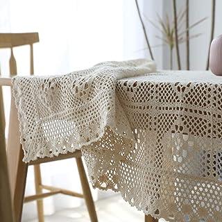 Vintage Coton Crochet Nappe, Macramé Dentelle Gland Nappes, Couture Linge De Table, Beige Multi-Size sans Odeur Rectangula...