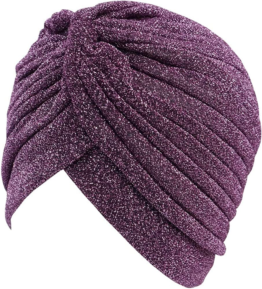 GETACOTA Pleated Glitter Turban for Women Stretchy Hat Beanie Headwrap Twist Elastic Slip on Cap Headwear Accessories