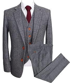 Vintage Men's 3 Pcs Suit Herringbone Tweed Checkered Blazer Vest Pants