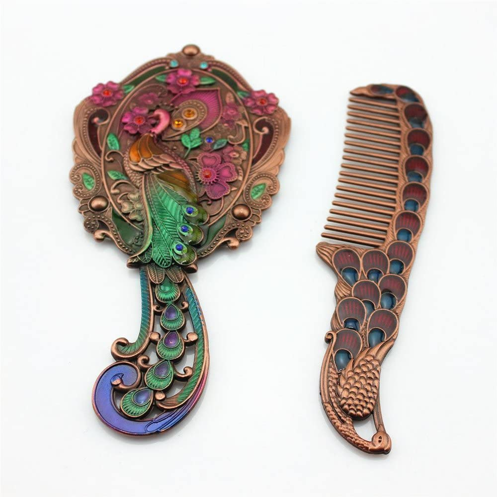 SY Crafts Peacock unisex Design New life Handheld Mirror Gift Set Copper Comb