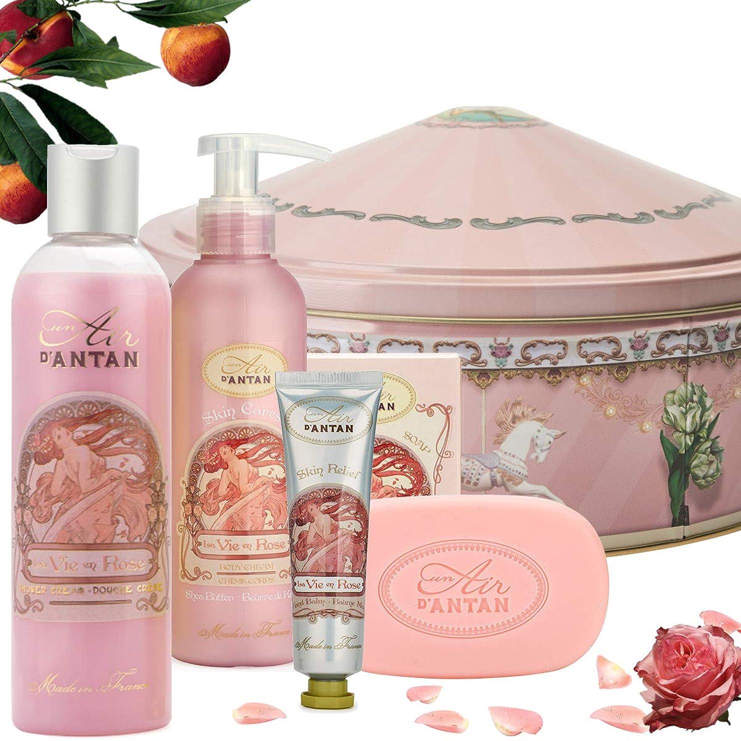 医療のかわす資源La Vie En Rose ウーマンビューティーセット (250 ml)- シャワージェル (25ml)- フラワーハンドクリーム. (200 ml) - ボディミルク-石鹸 (100g) - ピンクの香水、パチョリ、ピーチ、- Un Air d'Antan 昨年の空気